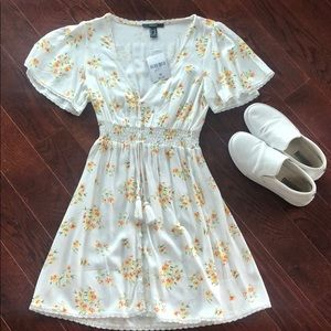 White and Yellow Floral Dress - brand new